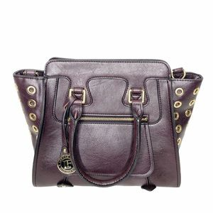 London Fog eggplant purple satchel bag